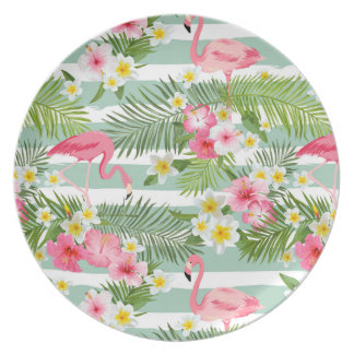 Flamingos And Stripes Dinner Plate