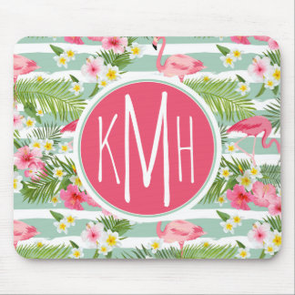 Flamingos And Stripes | Monogram Mouse Pad