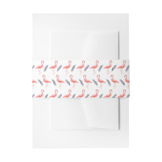 Flamingos and tropical palm leaf pattern wedding invitation belly band