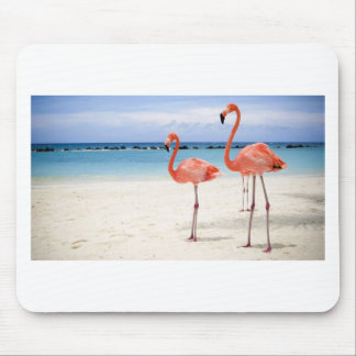 Flamingos at the Beach Mouse Pads