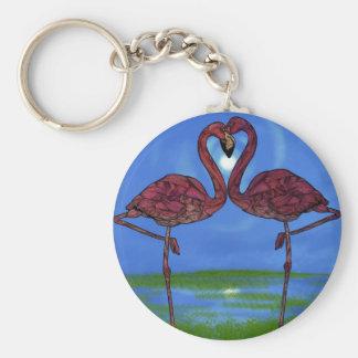 Flamingos Basic Round Button Key Ring