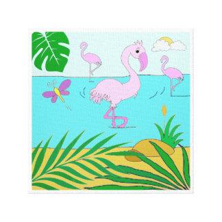 Flamingos by the lake canvas print