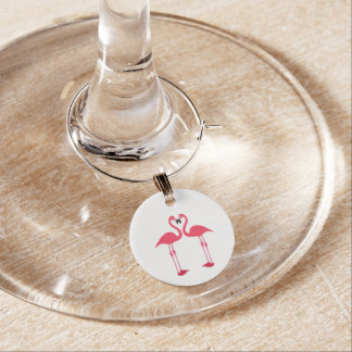 Flamingos cartoon wine glass charms