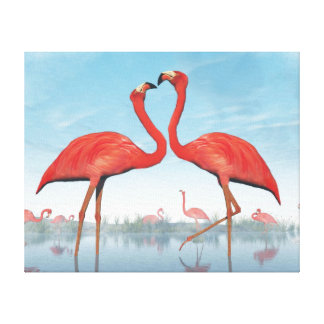 Flamingos courtship - 3D render Canvas Print