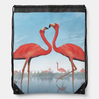 Flamingos courtship - 3D render Drawstring Bag