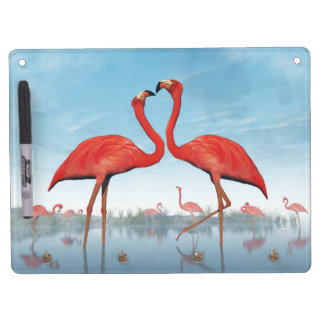 Flamingos courtship - 3D render Dry Erase Board With Key Ring Holder