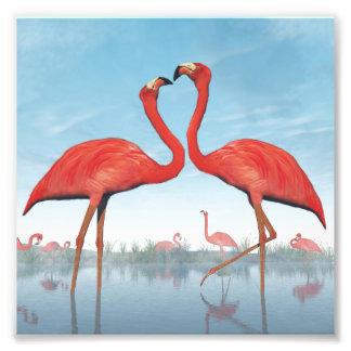 Flamingos courtship - 3D render Photo Print