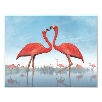 Flamingos courtship - 3D render Photographic Print