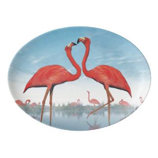 Flamingos courtship - 3D render Porcelain Serving Platter