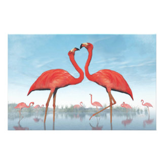 Flamingos courtship - 3D render Stationery