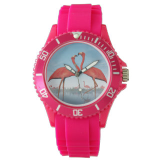 Flamingos courtship - 3D render Watch