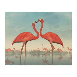 Flamingos courtship - 3D render Wood Wall Decor
