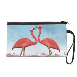 Flamingos courtship - 3D render Wristlet