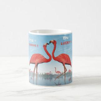 Flamingos courtship : you = awesome, me = lucky coffee mug