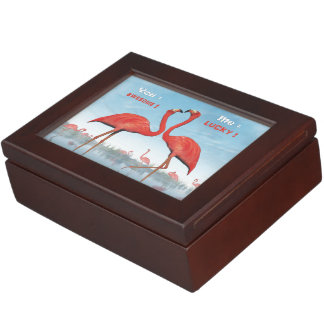 Flamingos courtship : you = awesome, me = lucky keepsake box
