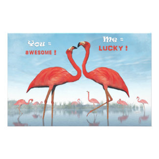 Flamingos courtship : you = awesome, me = lucky stationery