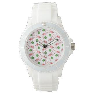 Flamingos Dance White Pattern Watch
