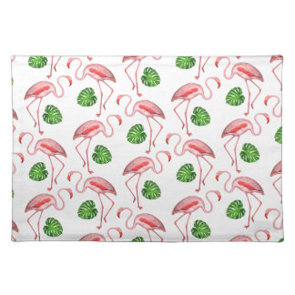 flamingos dance white placemat