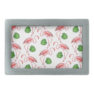 flamingos dance white rectangular belt buckle