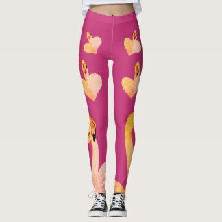 Flamingos Heart Pink , Custom Leggings, Flamingo Leggings