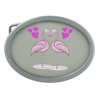 Flamingos in Love Belt Buckles