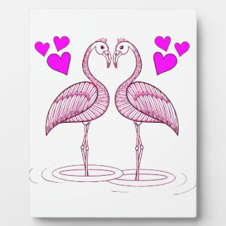 Flamingos in Love Plaque