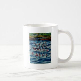 Flamingos in salty lake coffee mug