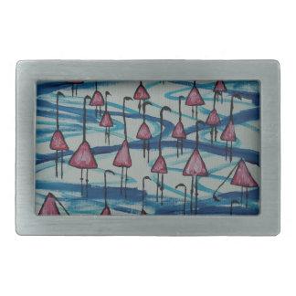 Flamingos in salty lake rectangular belt buckles