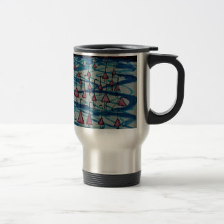 Flamingos in salty lake travel mug
