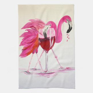 Flamingos In Wine Tea Towel