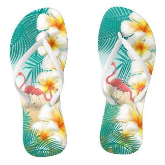 Flamingos on a Teal Tropical Beach Design Thongs