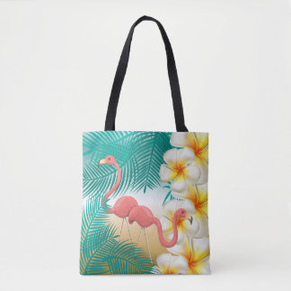 Flamingos on a Teal Tropical Beach Design Tote Bag
