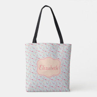 flamingos on blue tote bag