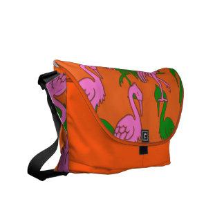 Flamingos on Orange Rickshaw Messenger Bag