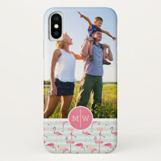 Flamingos On Stripes   Add Your Photo & Monogram iPhone X Case