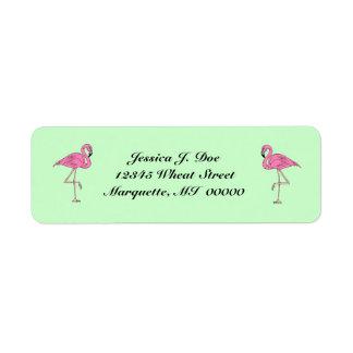 Flamingos pair of pink Return Address Labels