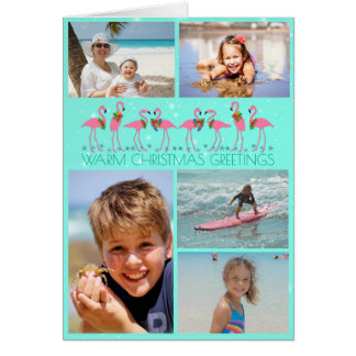 Flamingos Photo Collage Folded Christmas Greeting Card