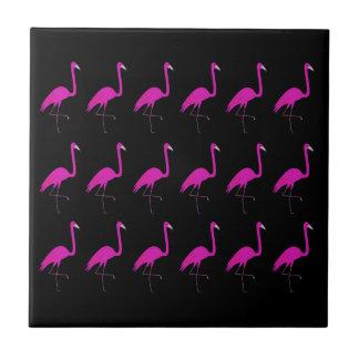 Flamingos pink on black ceramic tile