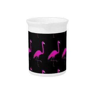 Flamingos pink on black pitcher
