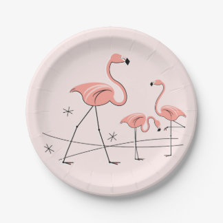 Flamingos Pink Trio 2 paper plate 7 Inch Paper Plate