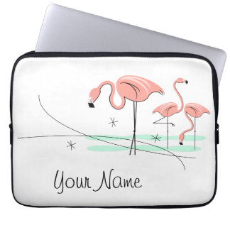 Flamingos Trio 3 Name laptop sleeve