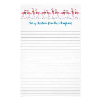 Flamingos Tropical Christmas Letter Lined Paper