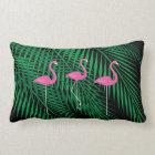 Flamingos & Tropical Palm Leaves on Black Sky Lumbar Cushion