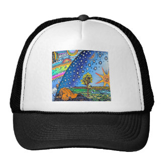 Flammarion Woodcut Flat Earth Design Square COLOR Cap