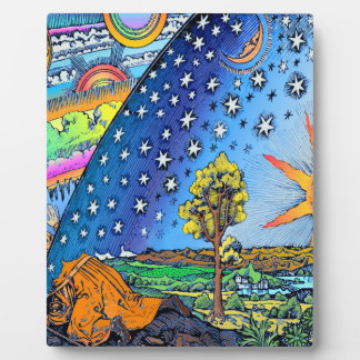 Flammarion Woodcut Flat Earth Design Square COLOR Plaque
