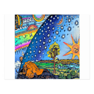 Flammarion Woodcut Flat Earth Design Square COLOR Postcard