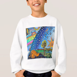 Flammarion Woodcut Flat Earth Design Square COLOR Sweatshirt