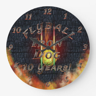 Flamz Flyball Iron Dog - 10 years of competition! Wall Clocks