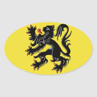 Flanders (Belgium) Flag Oval Sticker