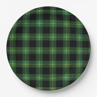 Flannel Green Buffalo Plaid Pattern Fall Autumn 9 Inch Paper Plate